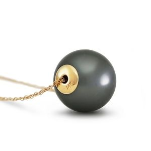 14K. GOLD NECKLACE WITH 16.0 mm BLACK SHELL PEARL